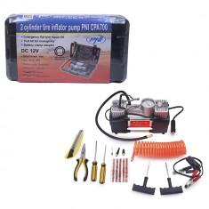 Resigilat : Compresor auto PNI CPA700 dublu piston si kit reparatie anvelope, 12V,