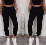 Cumpara ieftin Pantaloni dama lungi de tip jogger din bumbac negri cu elastic si buzunare