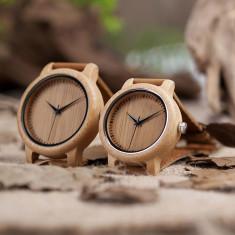 Set ceasuri din lemn Bobo Bird pentru cupluri, curea din piele