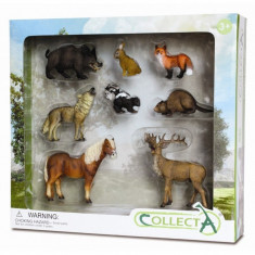 Set 8 figurine Animale din padure Collecta, 3 ani+