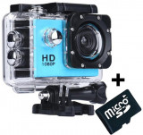 Cumpara ieftin Camera Sport iUni Dare 50i HD 1080P, 12M, Waterproof, Albastru + Card MicroSD 8GB Cadou