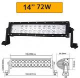 Proiector LED Bar 72W 33cm OFFROAD 12 24V Auto SUV Utilaj Lumina Lucru