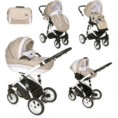 Carucior Set 3 in 1 Mia Light & Dark Beige, Lorelli