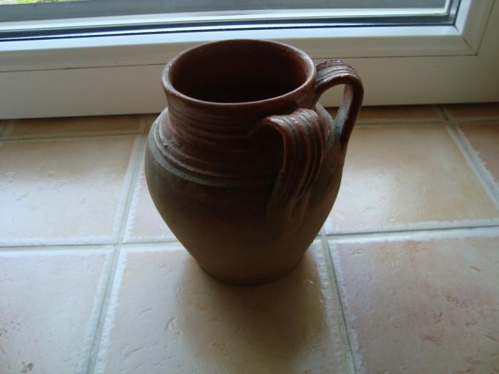 Oala cana canceu lut ceramica 2 h= 13 cm diametru gura = 8,5 cm