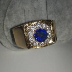 Inel Barbati Luxury Briliant Royal Blue Sapphire,dublu placat aur 24K