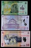 ROMANIA set lot 1 leu 2019 5 lei 2008 10 lei 2018 final serie 199 la toate UNC