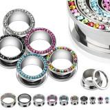 Tunel rotund pentru ureche – zircon - Diametru piercing: 6 mm, Culoare zirconiu piercing: Negru - K