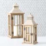Cumpara ieftin Set 2 felinare decorative din lemn Firola Natural, L21xl21xH50 cm / L15xl15xH33 cm