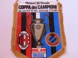 Fanion meci fotbal AC MILAN - CLUB BRUGGE (Cupa Campionilor 1990)