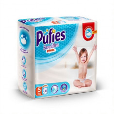 Scutece-Chilotel Pufies Sensitive Pants Junior, Nr.5, 12-18 Kg, 42 buc