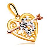 Cumpara ieftin Pandantiv în aur combinat sub formă de inimă cu o săgeată - figură decorativă 15