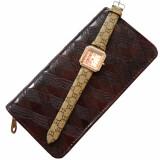 Cumpara ieftin Pachet portofel elegant de dama - visiniu + ceas elegant de dama kms dreptunghiular