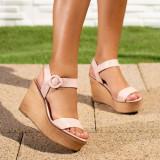 Sandale dama cu platforma roz Gialis