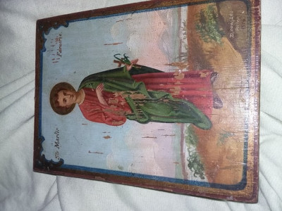 Icoana veche lemn,icoana pictata de lemn,Semnata/datata,stare cum se vede,T.GRAT foto