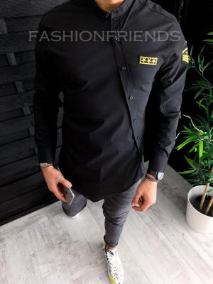 Camasa PREMIUM asimetrica neagra - camasa barbati - A1419 foto