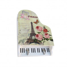 Cutie de lemn, forma pian si suport pentru chei