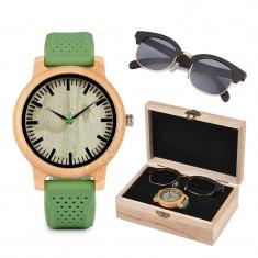 Set ceas din lemn Bobo Bird B06 si ochelari de soare din lemn Wooden Lux