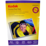 Hartie foto Kodak Premium Glossy A3, 230 g/mp, 20 coli/pachet