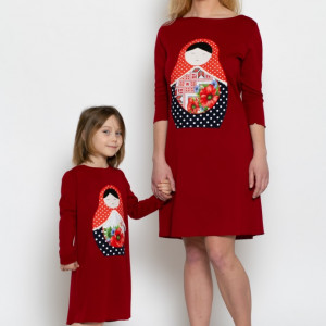 Set rochițe mama-fiica MATRIOSKA din jerse KITTY by KIDissue