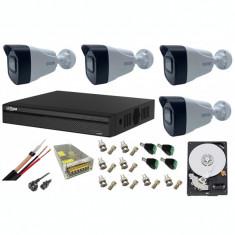 Kit sistem supraveghere 4 camere 8MP 4K cu IR 80m, microfon, DVR Dahua , accesorii incluse HDD 1TB SafetyGuard Surveillance