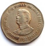 INDIA , 2 RUPEES 1887 - 1997 , CENTENAR Chandra Bose , SEF SERVICII SECRETE !!!, Asia, Crom