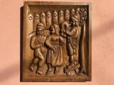 Tablou rustic romanesc sculptat in lemn,cu tarani in basorelief