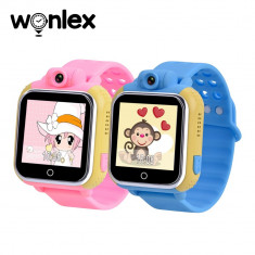 Pachet Promotional 2 Smartwatch-uri Pentru Copii Wonlex GW1000 cu Functie Telefon, Localizare GPS, Camera, 3G, Pedometru, SOS, Android - Roz + Albastr