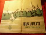 Harta Turistica Bucuresti 1957 RPR , dim.= 92x59cm