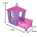 Casuta pentru copii Stone House PinkPurple cu gardulet