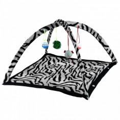 Culcus interactiv pentru pisici, tip cort, negru, Gonga