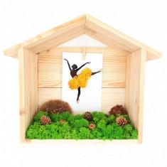 Cumpara ieftin Decoratiune casuta cu licheni naturali stabilizati, Yellow ballerina, 30x24x11 cm