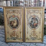 Set 2 x Tablouri spectaculoase, in stil Renascentist, sec XVII, dimensiuni mari 90x47 cm, Italia.