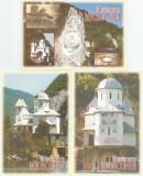 Romania, Cazanele Dunarii, Manastirea Mraconia, 3 c.p. ilustrate necirculate, Necirculata, Printata
