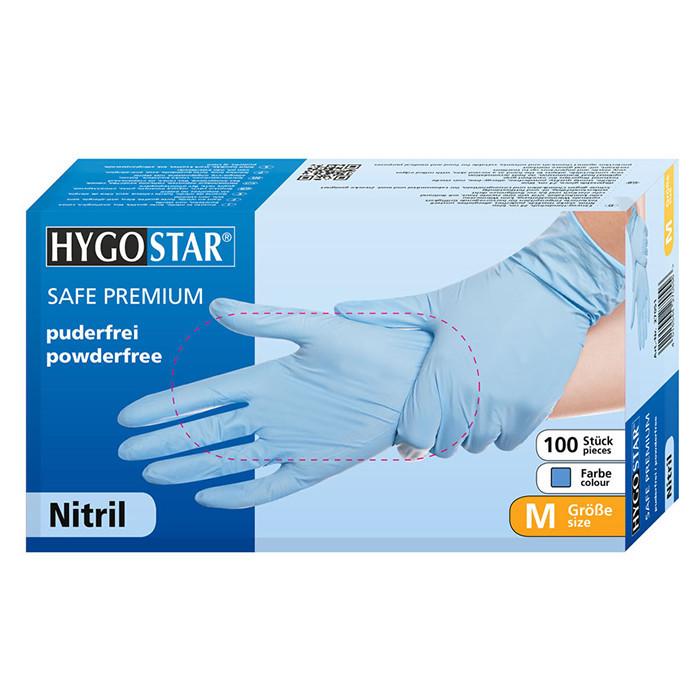 Manusi nitril Safe Premium marimea M, albastre, 100 bucati/cutie, nepudrate