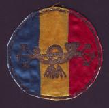 Emblema vintage brodata PTTR anii 20, Posta Telegraf Telefon Radio