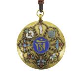 Amuleta aurie cu cele 8 simboluri tibetane, cu cele 12 zodii si silaba de protectie