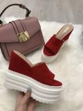 Papuci dama rosii cu platforma marime 40+CADOU