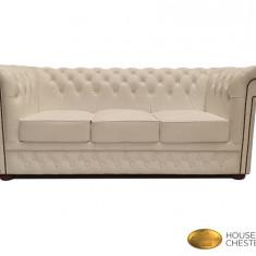 Canapea Chesterfield Brand -Classic white -3 locuri-Piele naturală
