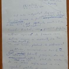 Manuscris olograf Geo Bogza , Printul , 6 foi , 10 pagini , 1980