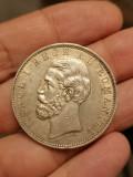 Romania - 5 lei 1883 argint, stare aUNC++, varianta Kullrich pe 6.5 mm, rara!