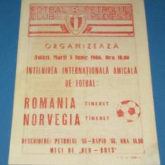 Program meci fotbal ROMANIA (tineret)-NORVEGIA(tineret) 03.06.1986