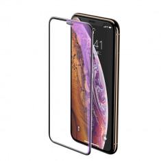 Folie iPhone 11 Pro / iPhone XS / iPhone X, Sticla Securizata, 3D, Anti-Blue-Light / Raze UV, Protectie Praf Difuzor, Negru