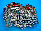 5235-Catarama pafta curea vintage H.Davidson-Asphalt Warrior-Baron USA.