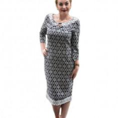 Rochie bicolora alb-negru, cu paspol alb la guler si tiv
