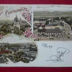 Romania litho 1899 salutari din Cernauti, Circulata, Printata