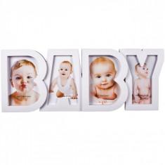 Rama foto bebe, model cu 4 fotografii, 18×45 cm, alb foto