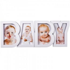 Rama foto bebe, model cu 4 fotografii, 18×45 cm, alb