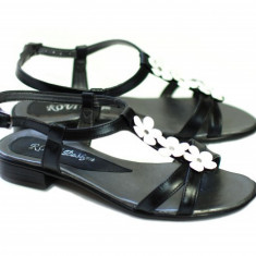 Sandale din piele naturala (Negre cu floricele) - SCORANA, 35 - 40, Alb, Bej, Bleumarin, Maro, Negru, Rosu, Roz