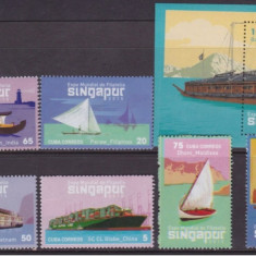 Cuba, nave, corabii, expo. mondiala filatelie Singapur, serie si colita, 2015