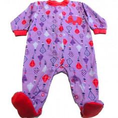 Salopeta / Pijama bebe cu desene Z20, 1-2 ani, 1-3 luni, 12-18 luni, 3-6 luni, 6-9 luni, 9-12 luni, Mov